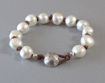 Knotted Leather White Pearl Bracelet Fine Silver Button DJStrang Red Brown Baroque Boho Chic