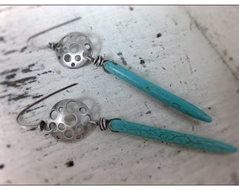 Long Turquoise Spikes with Sterling Silver Disk Earrings