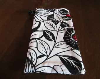 Glass case, accessory, purse accessory, black, red, white print, sunglasses, eye wear, bags and purses, accessory case,