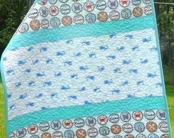 SALE SALE Baby Boy Quilt Whales Ocean Travel Quilt Newborn Nursery bedding Play Date Quilt gender neutral aqua blue