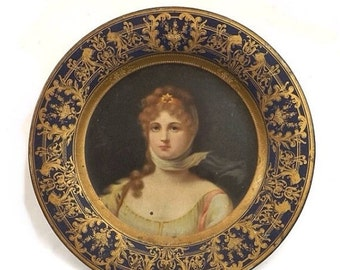 1905 Vienna Art Plates Tin Litho Queen Louisa of Prussia Portrait Plate Cobalt Blue and Gold Victorian Home Decor