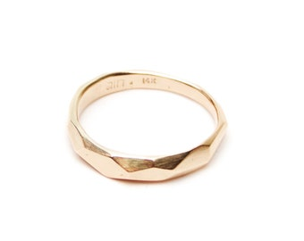 Recycled Gold Hand Faceted Wedding Band