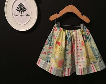 Sample SALE - Will fit Size 3T to 5T - Ready to MAIL - SKIRT -  Circus - Patchwork Sherbet - by Boutique Mia