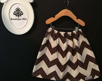 Sample SALE - Will fit Size 3T to 5T - Ready to MAIL - SKIRT -  Riley Blake - Brown and White Chevron - by Boutique Mia