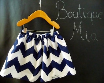 Sample SALE - Will fit size 8 Yr up to 11 Yr - Ready to MAIL - SKIRT - Riley Blake - Navy and White Chevron - by Boutique Mia