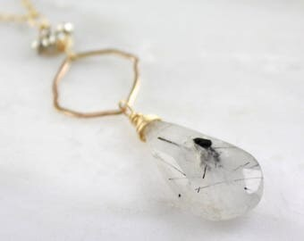Tourmalinated Quartz, Pyrite and Forged Gold Square Necklace