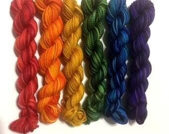 Rainbow - 6 pack Koigu KPPPM sock yarn mini skeins