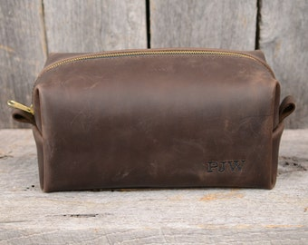 Large Stone Oiled Leather Dopp Kit Travel Toiletry Shaving Bag with Free Monogram and Optional Interior Message Gift for Man Groomsmen