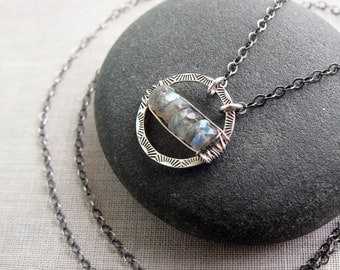 Labradorite Necklace, Orbit Necklace, Sterling Silver, Circle Necklace, Labradorite Jewelry, Gift for Her, Stamped Silver, Wire Wrapped