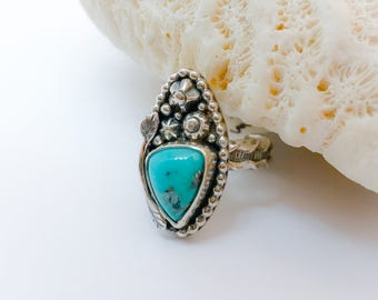 Kingman Turquoise Ring, Size 7 1/2 Marquis Handcrafted Silversmith Flower Ring, Nature Lover Gift, Sterling Silver Artisan Bohemian Ring