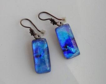 Glass Earrings, French Hook Earrings,  Fused Glass Drop Earrings, Blue and Purple Fused Glass Earrings, Oxidized Sterling Silver Earrings