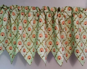 Spring green beehive window valance