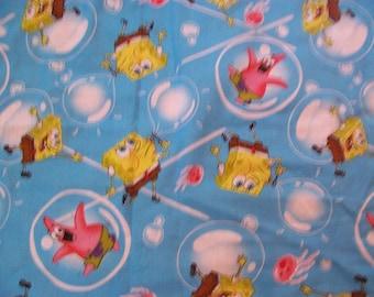 """Bubbles - Spongebob Blue Cotton Fabric Remnant 34"""" x 22"""" Plus Bonus attached piece"""