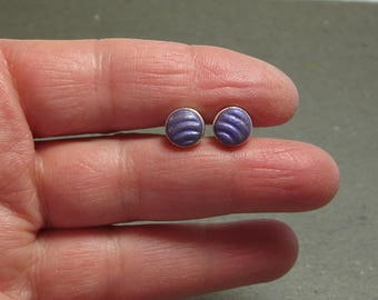 Stud Earrings 8 mm Purple Curve Pattern Hypo Allergenic Simple Post Earrings