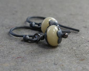 Yellow Jade Earrings Petite Minimalist Oxidized Sterling Silver Earrings Gift for Girlfriend