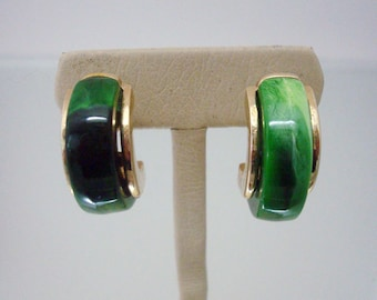 Green Half Hoops Pierced Plastic Over Metal Gold Tone Vintage Jewelry