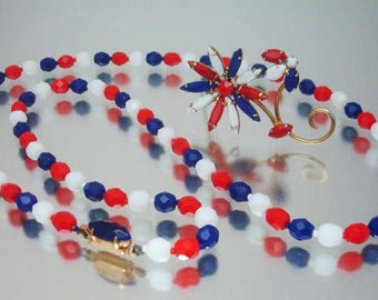 Confirmed Juliana D&E Brooch and Necklace Red  White Blue Pin