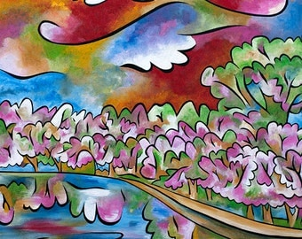 Tidal Basin Bloom 3 - 11x14 matted print by Joel Traylor