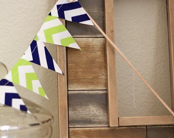 Lime Green Navy Blue mini pennant flags / Blue wedding Bunting / party decoration / fabric sewn scrap flag banner / Chevron Photo prop.