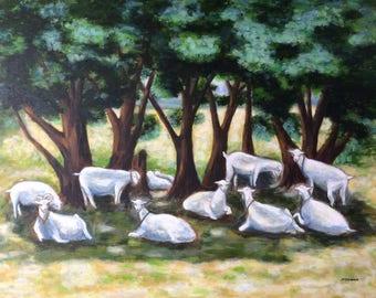 Goats, Goat art, Farm animals, Original painting, Goat Landscape painting, Wall decor