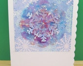 Handmade Christmas Snowflake Card - Watercolour Paints - Unique Ooak - Blank - Suitable For All