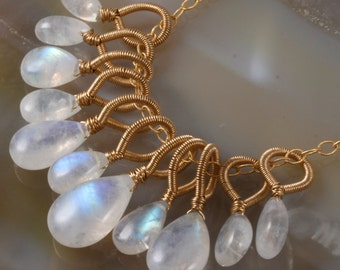 Final Payment - Rainbow Moonstone Wire Wrapped Pendant Necklace