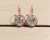 Rose gold druzy earrings, rose gold dangle earrings, rose gold leverback druzy earrings, bridesmaids earrings, faux druzy earrings