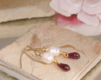 Handmade Pearl Garnet Gold Dangle Earrings SRA  Bastet's Beads- Regal Garnet