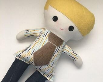 Funky Fabric Boy Doll, blonde hair