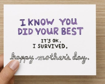 Honest Mother's Day Forgiveness Recycled Paper Folded Greeting Card
