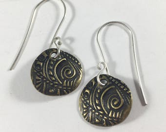 Furngully Earrings in Sterling Silver & Brass Fern Floral Spring Drop Gifts for Her Birthday Christmas Fairy Princess