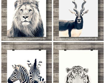 Printable art   Set of 4   African animals art print   Sepia Zebra photo   Lion wall art   Safari decor   Jungle animals   African animals