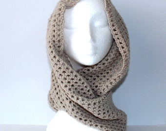 Sandstone Cowl - Pure soft wool machine washable crocheted lace Handmade Infinity Scarf neck warmer