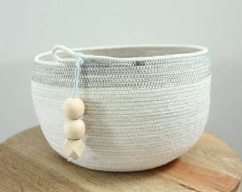 Basket rope coil bin storage organizer bowl pompoms natural grey charcoal by PETUNIAS