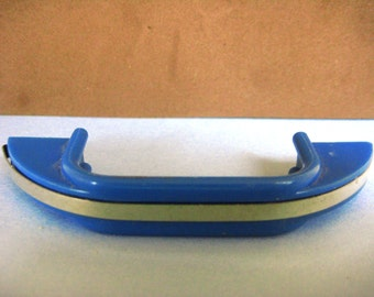Vintage Blue and Chrome 1940s Cabinet Cupboard Furniture Hardware Pull EXC