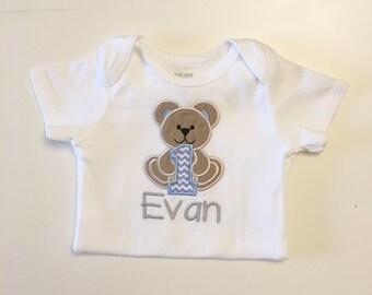 Boy Teddy Bear 1st Birthday Shirt Bodysuit- Personalized