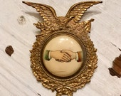 Vintage ODD FELLOWS Lodge Shaking Hands Fraternal Order Ornate Badge EAGLE WhiteHead & Hoag Jewelry Supplies Collectable Curiosity Cabinet