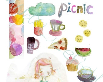 PICNIC Mixed media, journaling collage sheets - by Mindy Lacefield