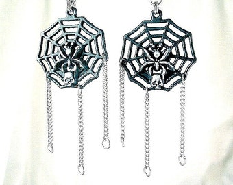 Spider Web Skull Black Silver Long Dangle Charm Earrings Spooky Magick Halloween Magic Wicked Fun Gothic Webs Spiders Chains