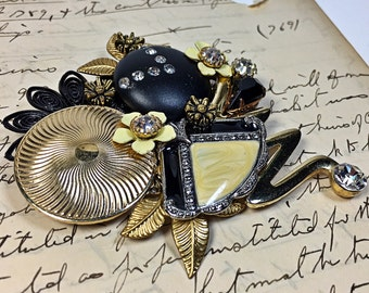 Diane Upcycled Vintage Jewelry Collage Brooch pin flowers black yellow rhinestone