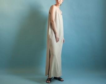 beige linen maxi dress / sleeveless dress / minimalist dress / m / l / 2061d / B3