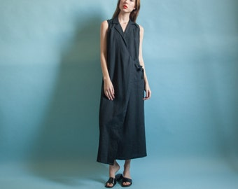 black linen wrap dress / minimalist dress / black maxi dress / s / 4 / 2066d / B3