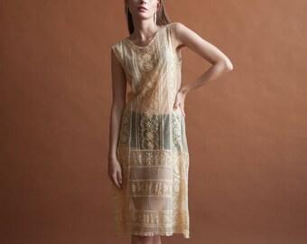 1920s flapper lace dress / wedding dress / lace slip dress / s / 1000d