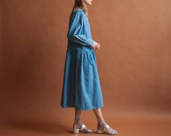 denim babydoll maxi dress / long babydoll dress / simple denim dress / m / l / 2176d / B7