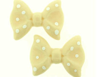 25 Pieces Bow Resin Flatback in Ivory