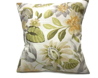 Decorative Pillow Cover Bold Floral Olive Green Yellow Gold Gray Grey Natural Same Fabric Front/Back Toss Throw Accent 18x18 inch  x