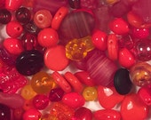 Destash Czech glass bead lot - red, ruby, brick, orange, and yellow Czech glass beads
