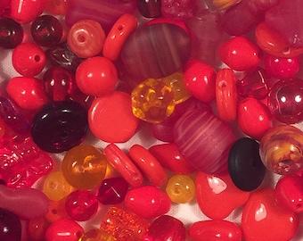 Destash Czech glass bead lot - red, ruby, brick, orange, and yellow Czech glass beads