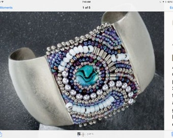 Silver Beaded Cuff - Embroidered Bracelet with Paua Abalone Shell, Pearls, Blue and Silver Beads and Bugles