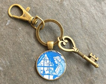 Nancy Drew  Keychain Bronze with Ring Swivel Clasp and Key Vintage Book End Papers
